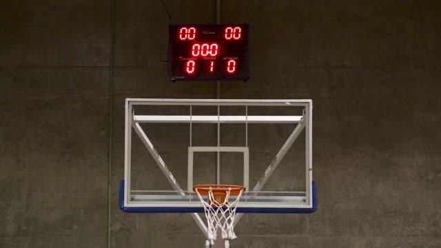 vídeos y material grabado en eventos de stock de baloncesto tiro libre con puntuación. tablero y shotclock cerca. plano. vista frontal - basketball hoop