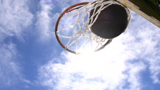 HD SUPER SLOW-MO: Basketball Going Through A Net video