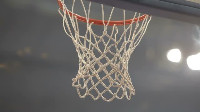 Basketball net score close up video