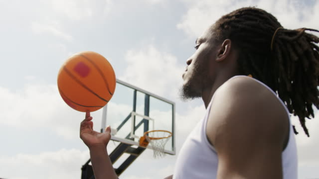 Basketball player playing with basketball 4k