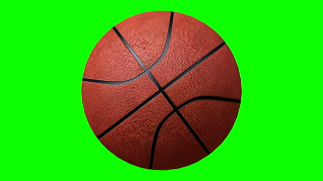 Basketball rotating over a chroma key background