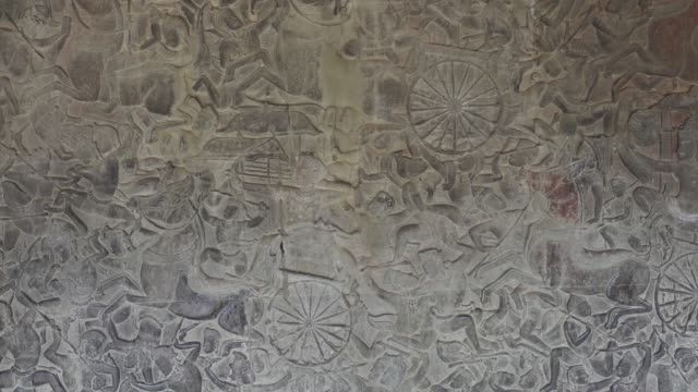 Bas-relief stone carving in Angkor Wat, Cambodia