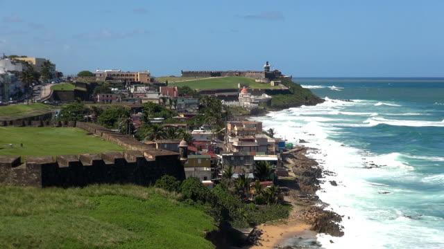 bastión de san sebastián-sanjuan, porto rico - portorico video stock e b–roll