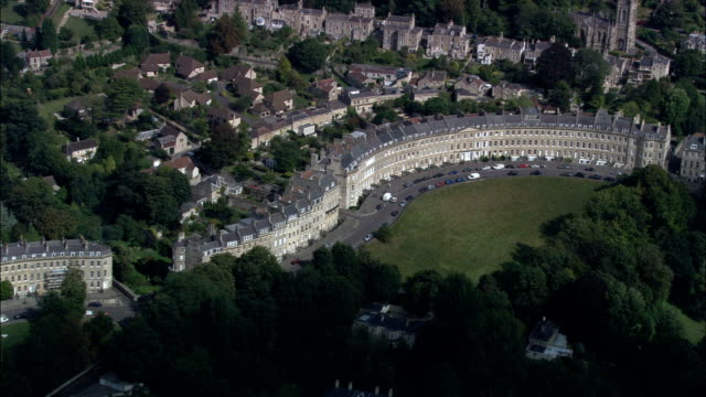 bath and lansdown crescent  - aerial view - england, bath and north east somerset, united kingdom - neoclassical architecture stock videos & royalty-free footage