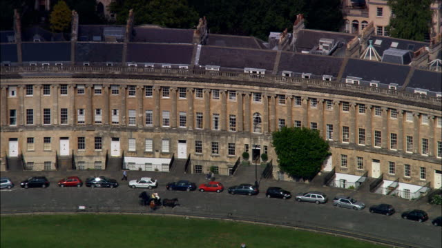 bath and royal crescent  - aerial view - england, bath and north east somerset, united kingdom - neoclassical architecture stock videos & royalty-free footage