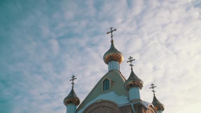 bath of the Russian Orthodox Church at sunset video