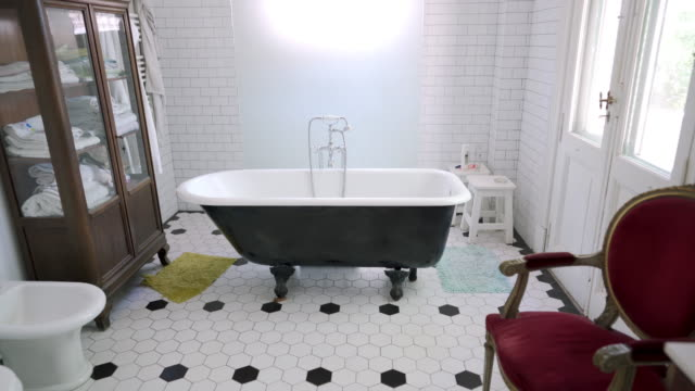 Bathroom in nursing home Bathroom with bathtub in nursing home tile stock videos & royalty-free footage