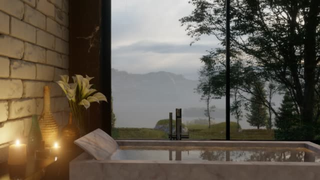 Bathroom with Marble Details and Nature View on a Rainy Day 3D Rendering bathroom stock videos & royalty-free footage