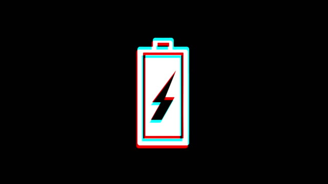 Battery Electricity icon Vintage Twitched Bad Signal Animation.