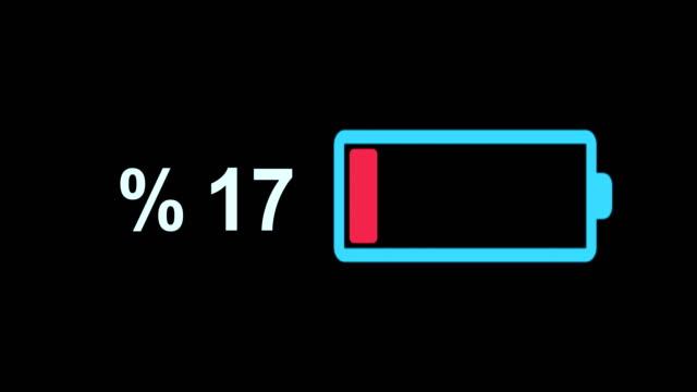 battery loading animation 4k - carica elettricità video stock e b–roll