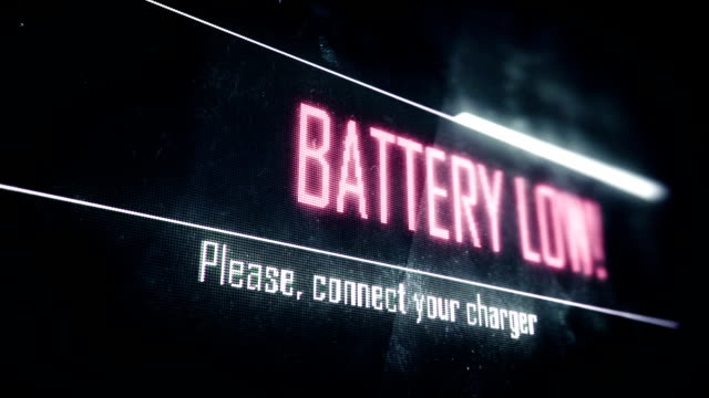 Battery low, connect your charger screen text, system message, notification video