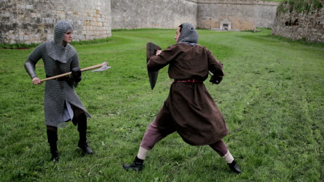 Battle between two aggressive and strong opponents, medieval knights. video