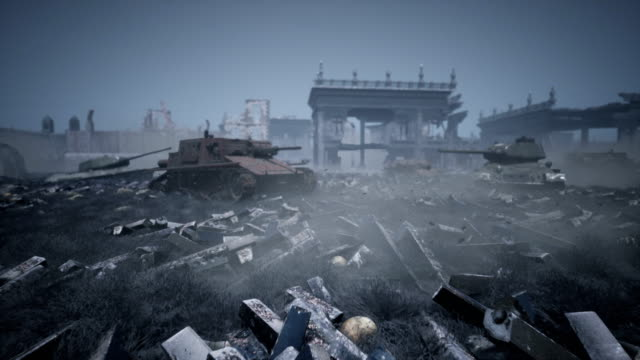 A battlefield with abandoned military tanks and ruins of houses. The concept of war and the Apocalypse.