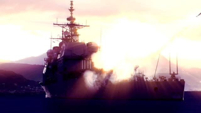 Battleship firing off a long range missile. video