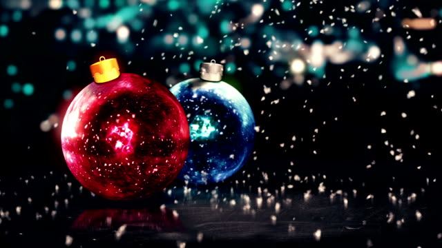 Baubles Christmas Night Bokeh Beautiful 3D Red Blue Loop video