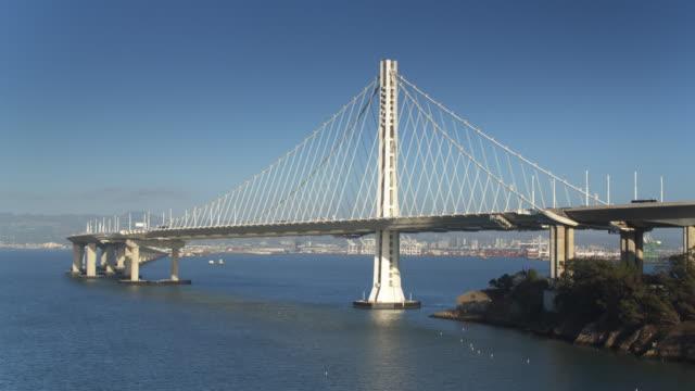 Bay Bridge fro Yerba Buena Island to Oakland - Drone Shot video