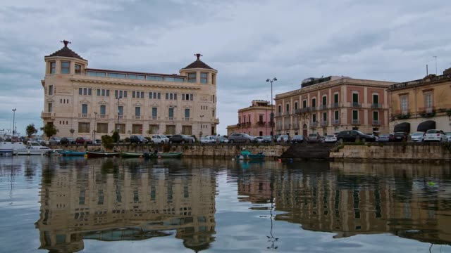 Bay of the Ortigia island and sea view from the bridge Umberto, province of Syracuse in Sicily, south Italy
