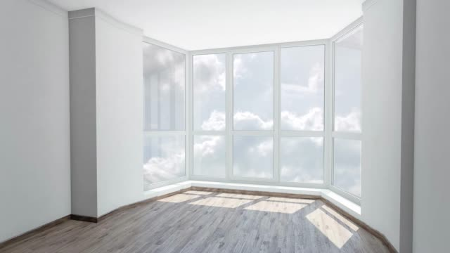 Bay window in empty room with view on cloudy sky. Background plate, chroma key video background. Bay window in empty room with view on cloudy sky. Background plate, chroma key video background bay window stock videos & royalty-free footage
