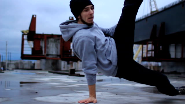 B-boy dancing break dance in the industrial zone video