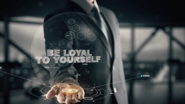 Be loyal to yourself with hologram businessman concept