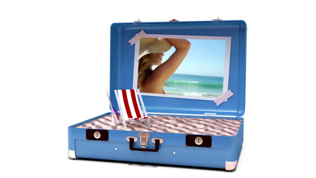 Beach accessories being drop in suitcase