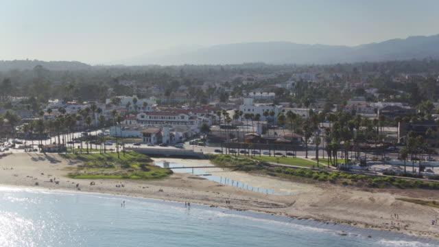 Beach and Downtown Santa Barbara - Aerial Shot video