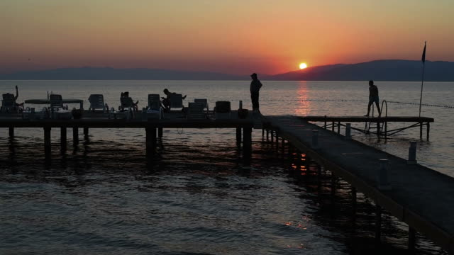 Beach and sea sunset video