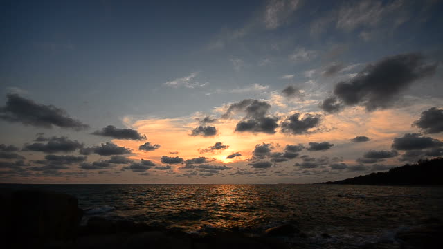 Beach at Sunset with Beautiful Cloudscape video