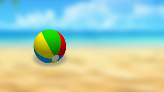 vídeos de stock e filmes b-roll de beach ball bouncing - brinquedos na piscina