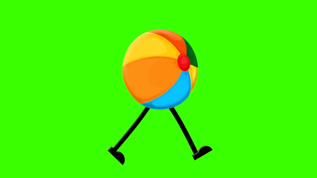 Beach ball loopable walk on a mock-up green screen background Chroma Key, Directly side, Activity, Ball, walking, loop summer illustrations videos stock videos & royalty-free footage
