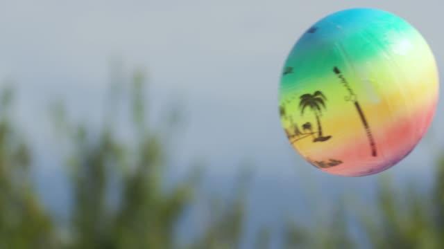 Beach ball thrown in pool
