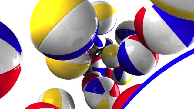 beach balls on white background - luglio video stock e b–roll