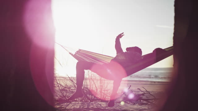 beach camping. hammock between two pines. lens flares - amaca video stock e b–roll
