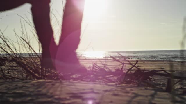 vídeos de stock e filmes b-roll de beach camping. hammock relaxation. closeup on feet - man admires forest