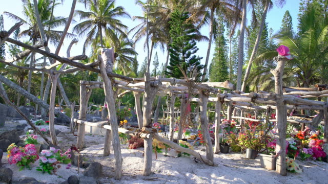 Beach Cemetery Tropical Graveyard 4K Video New Caledonia Pacific Islands Colorful with flowers decorated Pacific Islander Beach Cemetery - Graveyard under tropical Palm Trees close to a dream beach. 4K Real Time Video. Maré Island, Loyalty Islands, New Caledonia, Pacific Ocean Islands mare stock videos & royalty-free footage
