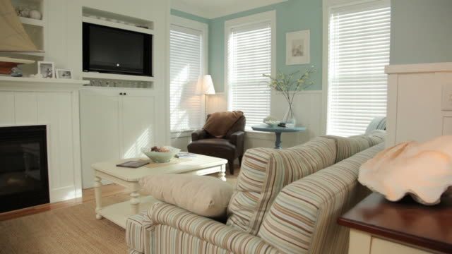 Beach cottage interior, dolly movement video