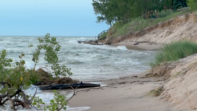 Beach Erosion Great Lakes Slow Motion video