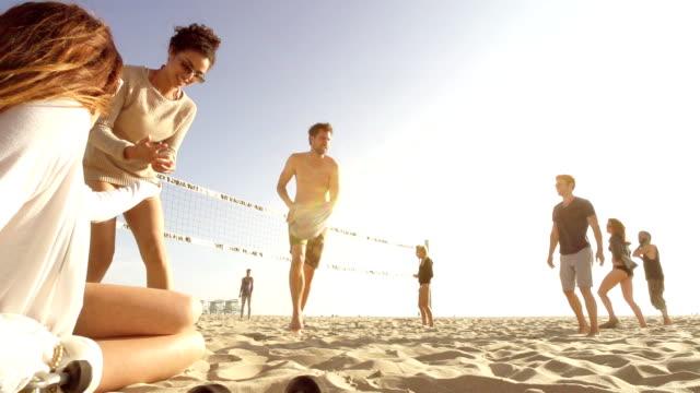 Zeitlupe-Strand Freunde-Gruppe – Video