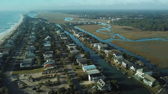 Beach front real estate and vacation Litchfield Beach, SC ocean front properties stock videos & royalty-free footage