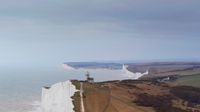 beach head and the seven sisters, england - drone shot - south downs video stock e b–roll