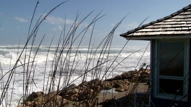 Beach Home With Storm Waves video