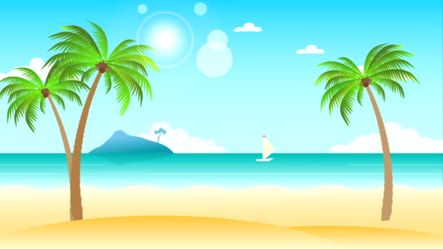 Beach landscape animation Beauty beach landscape animation with palm trees. Seamless loopable background. summer illustrations videos stock videos & royalty-free footage