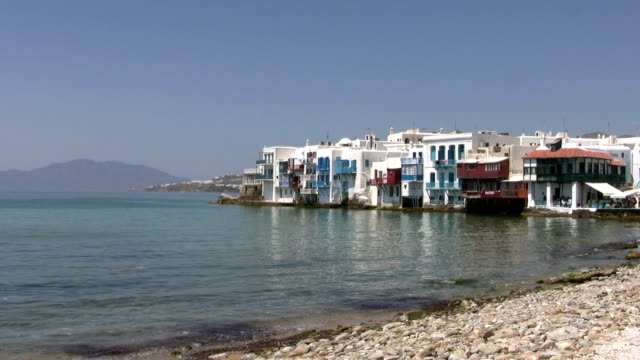 Beach, Little Venice, Mykonos, Greece Scenic, Beach and Little Venice, Greek island of Mykonos, Cyclades Islands. greek islands stock videos & royalty-free footage