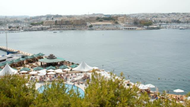 beach near the harbor, Malta, Valletta video