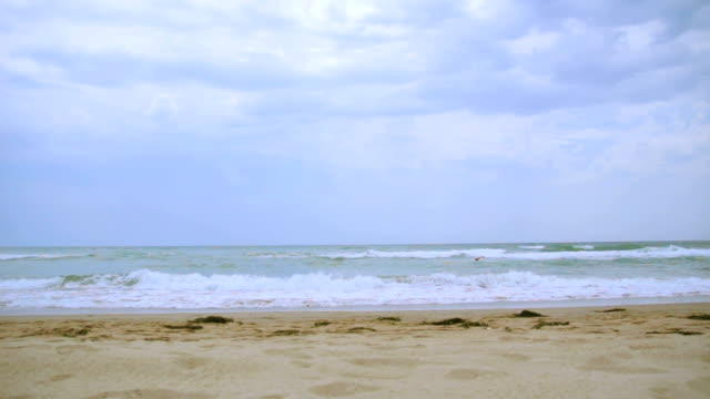 Beach on a cloudy day video