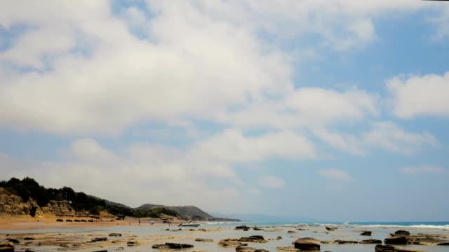 beach on rhodes island, greece - isole egee video stock e b–roll