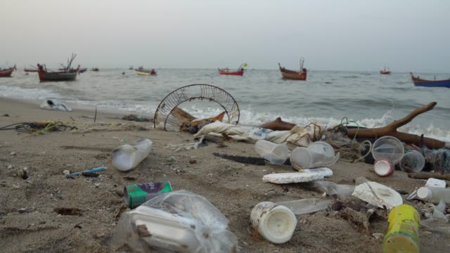 strand förorening. plast flaskor och annat skräp på havet stranden. - utdöd bildbanksvideor och videomaterial från bakom kulisserna