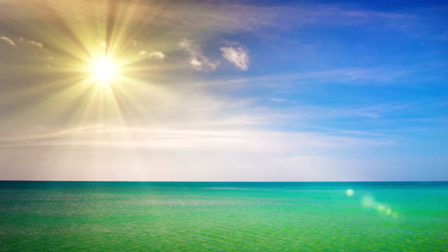 Beach scene showing sand, sea and skyBeach, Sea, Sun, Sunlight, Backgrounds, Nature, Summer, Sky, Landscape, People Traveling, Travel, Vacations, Wave, Blue, No People, Water, Travel Destinations, Sand, Caribbean Sea, Cloud - Sky, Cloudscape, Turquoise Co video