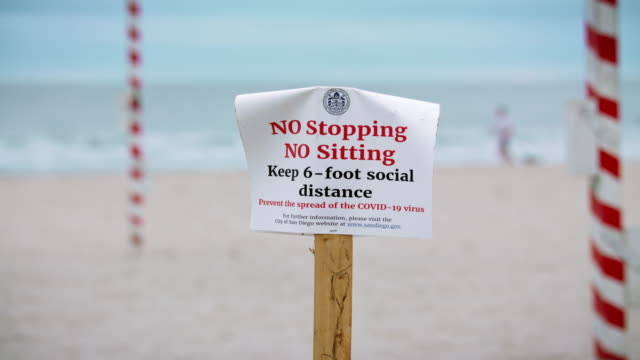 COVID-19 beach social distancing rules sign