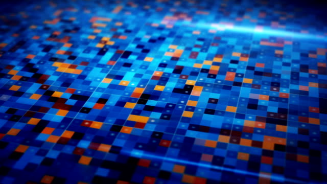 beaming blue orange squares loopable techno background video
